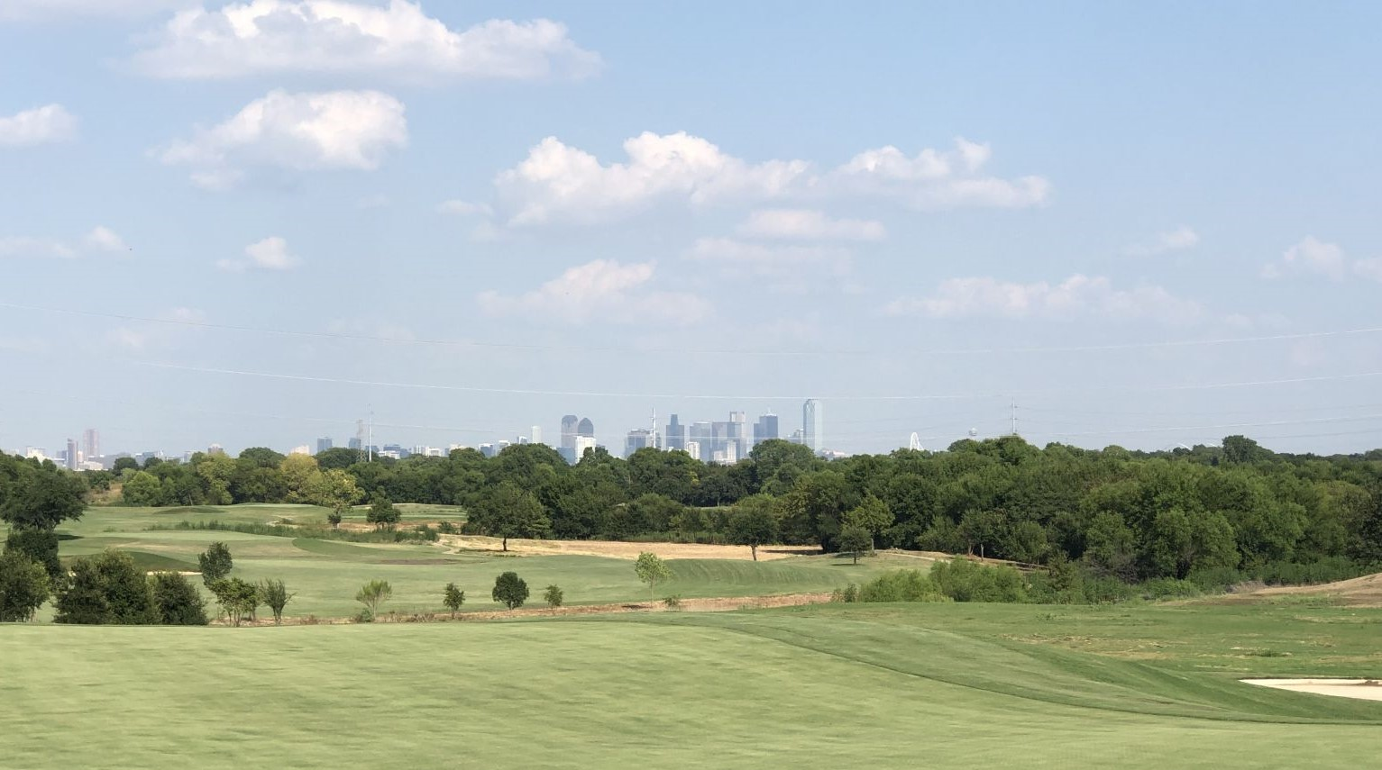 Views of dallas skyline from the Irving Golf Club